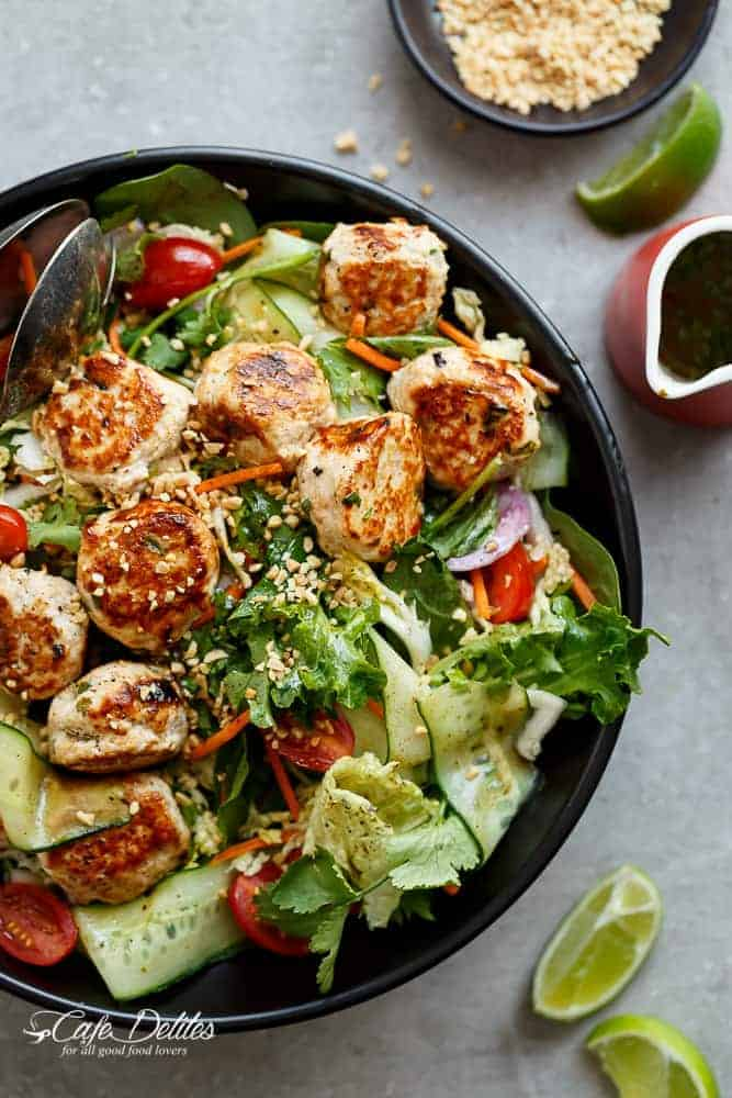 A Thai Chicken Meatball Salad full of Thai-inspired flavours, healthy, filling and low in fat, perfect for lunch or dinner. | https://cafedelites.com