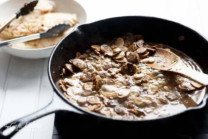 Julia Child's Creamy Chicken + Mushroom (also known as Supremes De Volaille Aux Champignons) lightened up and cooked in one skillet! | https://cafedelites.com