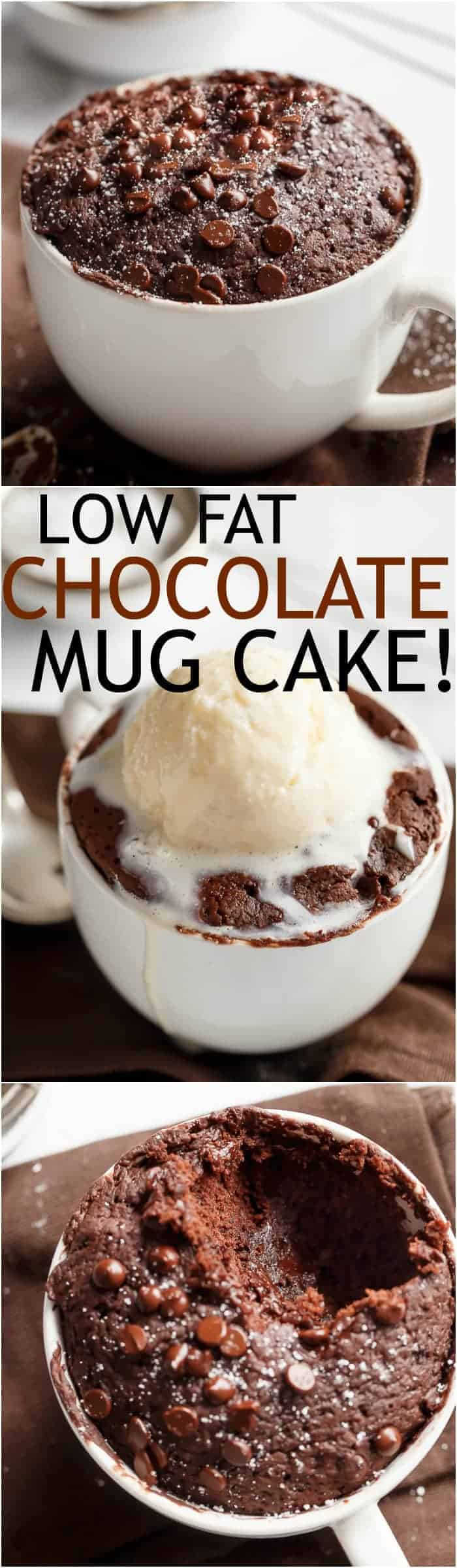 Low Fat Chocolate Mug Cake recipe WITH another video. Ready in less than one minute! Fluffy. Buttery and soft. The BEST low fat, guilt-free mug cake! | https://cafedelites.com
