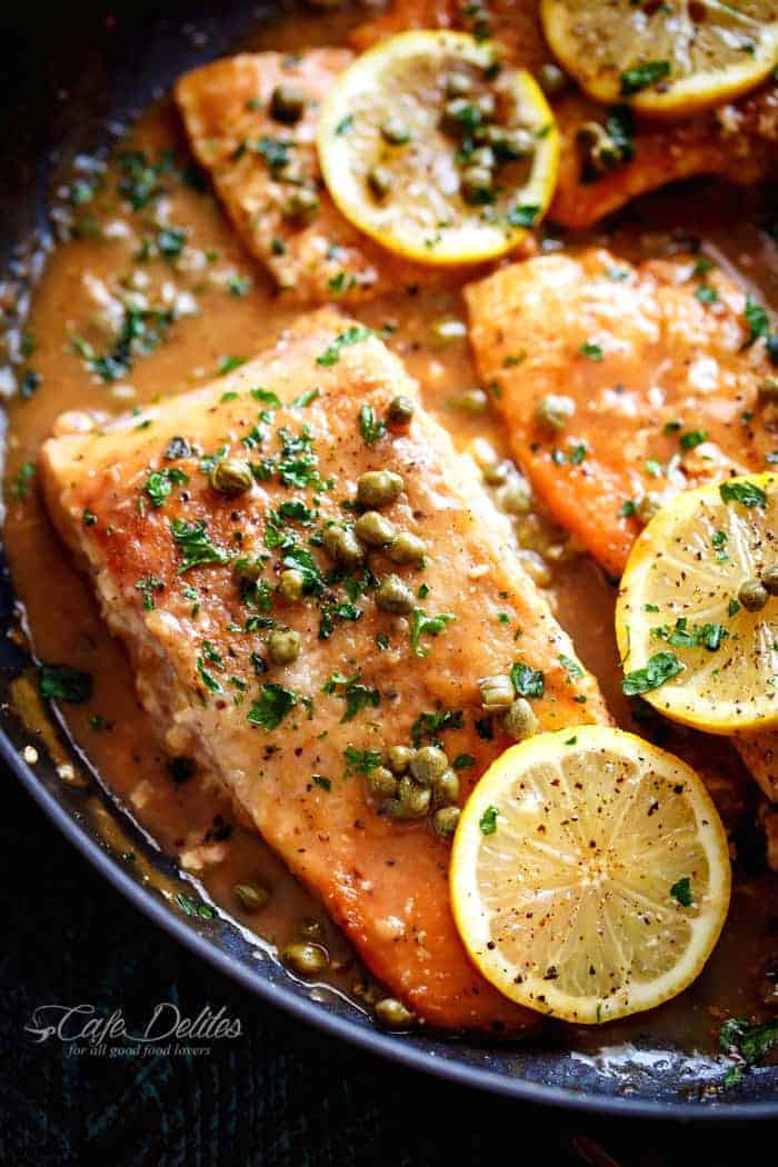 Easy Salmon Piccata | https://cafedelites.com