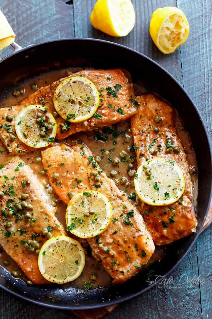 A lightened up, Easy Salmon Piccata with all of the authentic Piccata flavours of white wine, capers, lemon and garlic. Gourmet cooking in minutes! | https://cafedelites.com