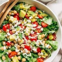 A simple Balsamic Chickpea Avocado Feta Salad full of Summery vibrant colours and flavours. Ready in under 5 minutes as a side or main!   https://cafedelites.com