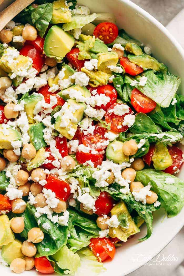 A simple Balsamic Chickpea Avocado Feta Salad full of Summery vibrant colours and flavours. Ready in under 5 minutes as a side or main! | https://cafedelites.com
