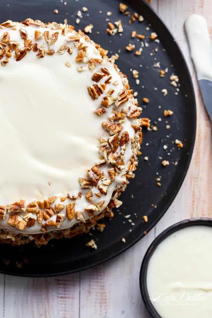 Carrot Cake Lemon Cheesecake | https://cafedelites.com