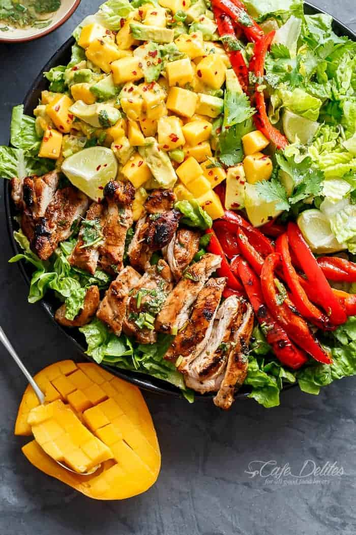 Cilantro Lime Chicken Salad + Mango Avocado Salsa - Cafe Delites