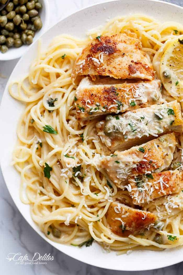 Creamy Lemon Parmesan Chicken Piccata (WITH VIDEO)