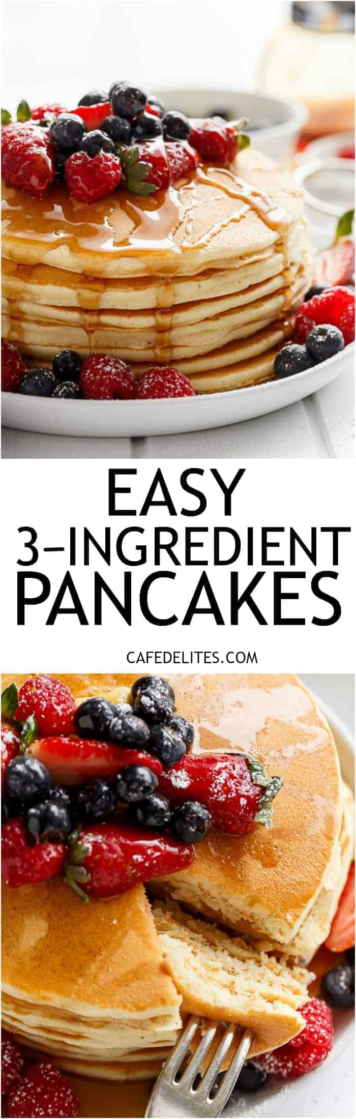 3-Ingredient Pancakes are fluffy and super soft with the added bonus of no oil or butter! Easy to make and so versatile, add in whatever you like! | https://cafedelites.com