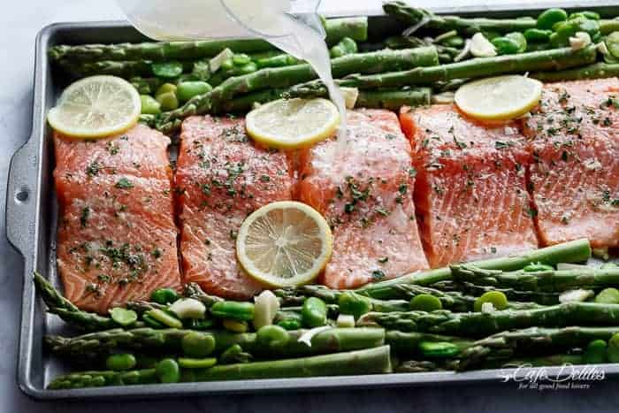 One Pan Lemon Garlic Baked Salmon + Asparagus | https://cafedelites.com