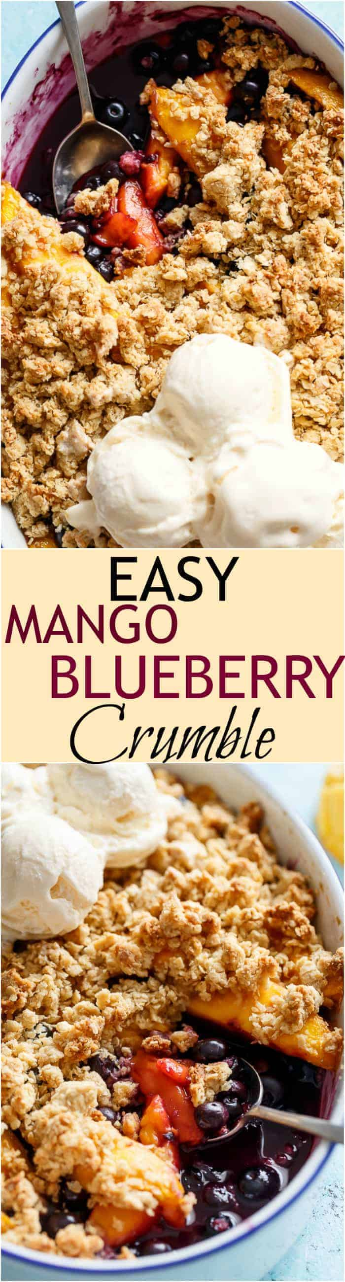 A classic and Easy Mango Blueberry Crumble with the crispy, buttery topping that's lighter in calories and BIG on flavour! | https://cafedelites.com