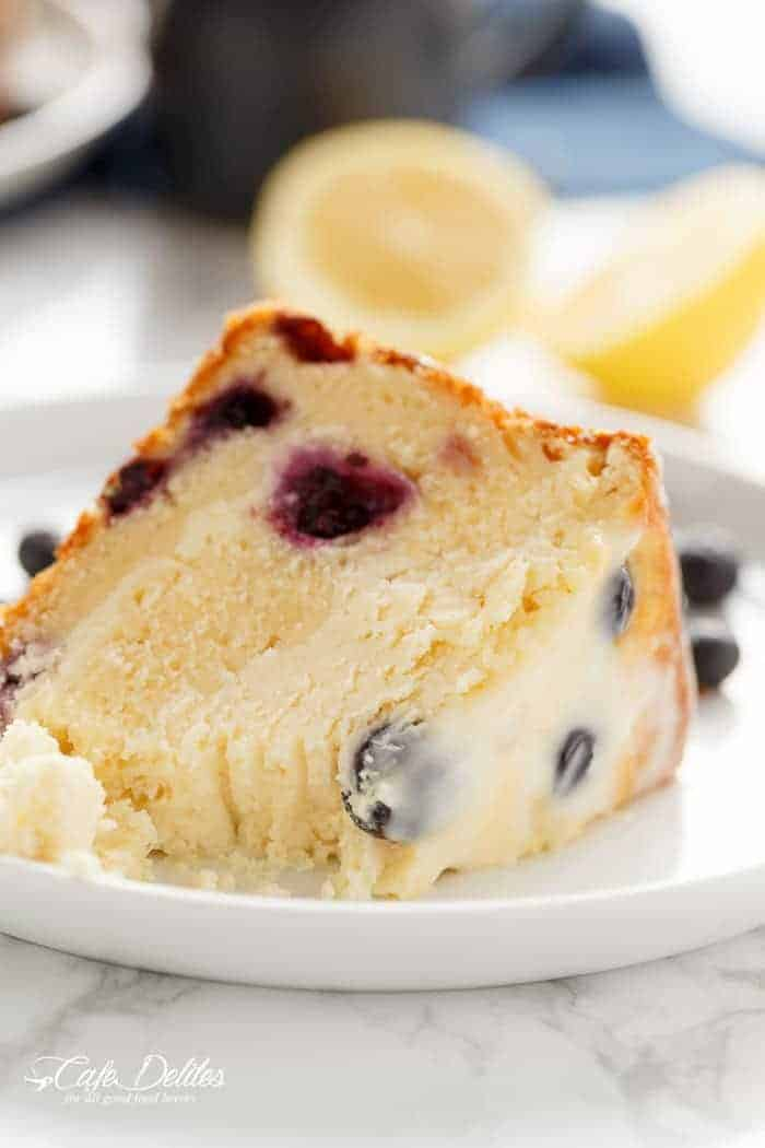 Blueberry Lemon Cheesecake Cake | https://cafedelites.com