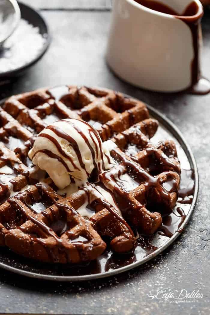 Dark Chocolate Cake Waffles Cafe Delites