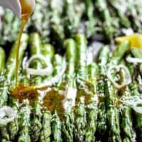 Garlic Browned Butter Baked Asparagus with Parmesan Cheese would have to be the perfect accompaniment or side dish! A delicious way to eat greens!   https://cafedelites.com