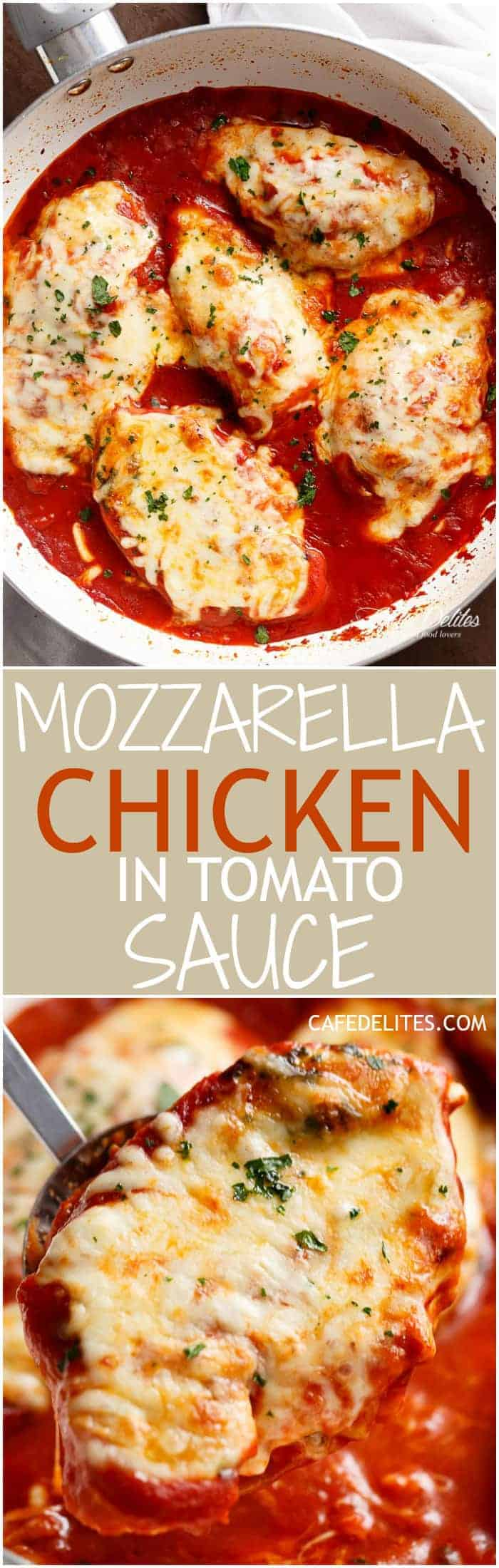A quick and easy Mozzarella Chicken In Tomato Sauce made in the one skillet in under 15 min! A restaurant quality dinner full of flavour in half the time. | https://cafedelites.com