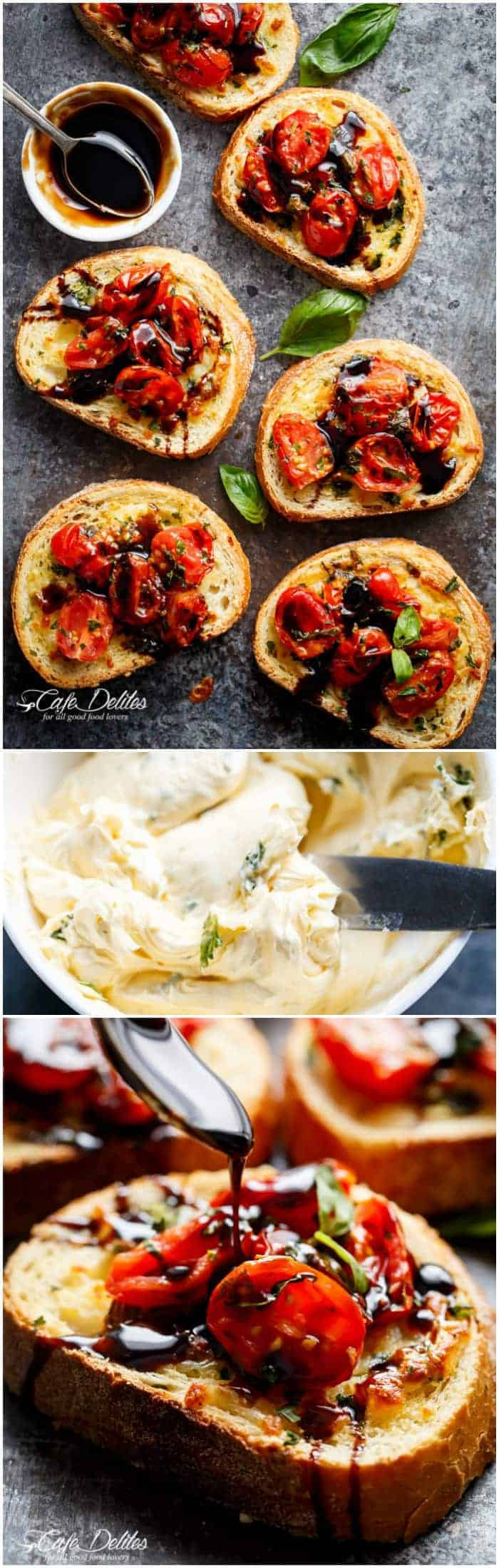 Tomato Caprese Garlic Breads with melted mozzarella cheese is taking a normal Garlic Bread and transforming it into something incredible in minutes! | https://cafedelites.com