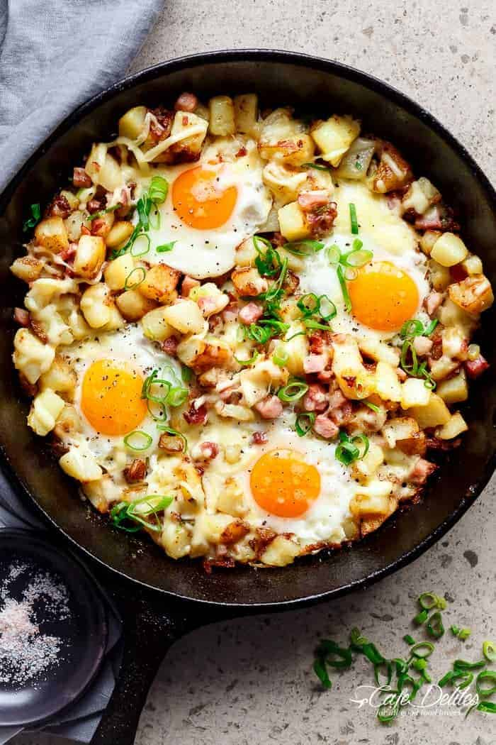 Cheesy Bacon And Egg Hash Cafe Delites