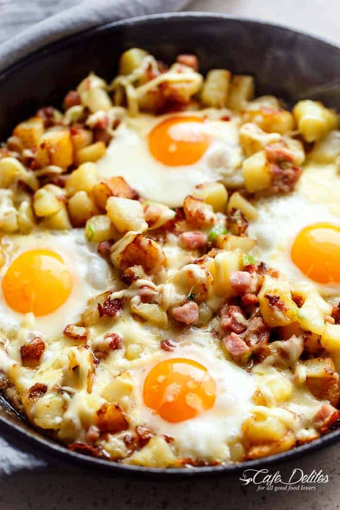 Cheesy Bacon And Egg Hash Breakfast Skillet Cafe Delites