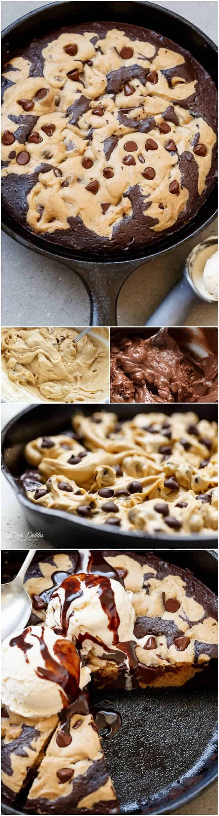 Chocolate Chip Cookie Marbled Skillet Brownie is crispy on the outside. Extreme fudgy-ness going on on the inside. This is the combination of your dreams! | https://cafedelites.com
