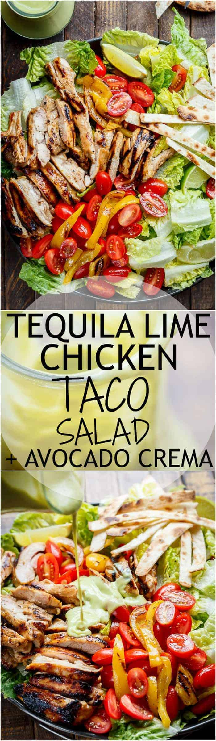 Tequila Lime Chicken Taco Salad with an Avocado Crema spiked with honey, lime and booze. Complete with tortilla strips, have a chicken taco in a salad! | https://cafedelites.com