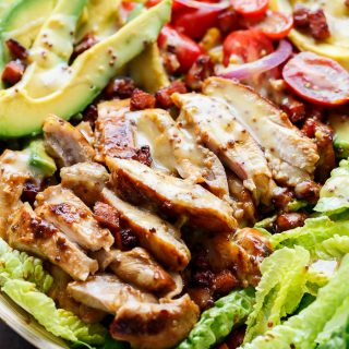 Honey Mustard Chicken, Avocado + Bacon Salad, with a crazy good Honey Mustard dressing withOUT mayonnaise or yogurt! And only 5 ingredients! | https://cafedelites.com