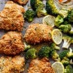Oven Fried Chicken with Broccoli + Honey Garlic Sauce