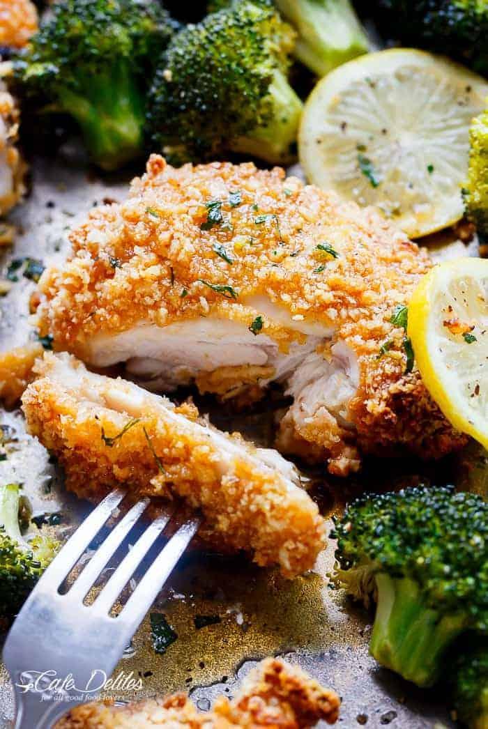 Oven Fried Chicken + Broccoli + Honey Garlic Sauce   https://cafedelites.com