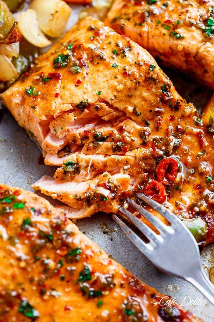 Sheet Pan Chili Lime Salmon | https://cafedelites.com