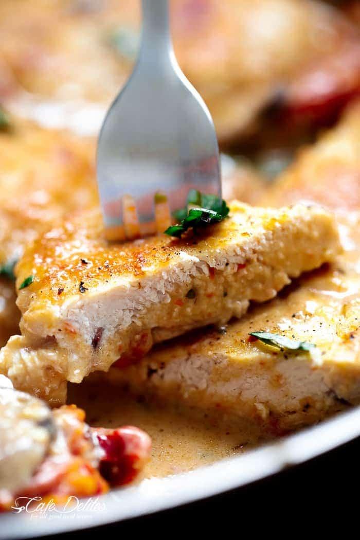 Creamy Sun Dried Tomato Parmesan Chicken (No Cream) | http://cafedelites.com