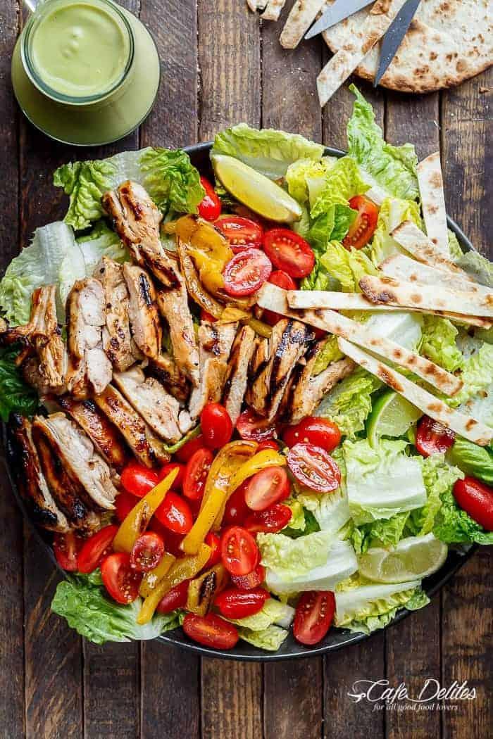 Grilled Tequila Lime Chicken Taco Salad - Cafe Delites