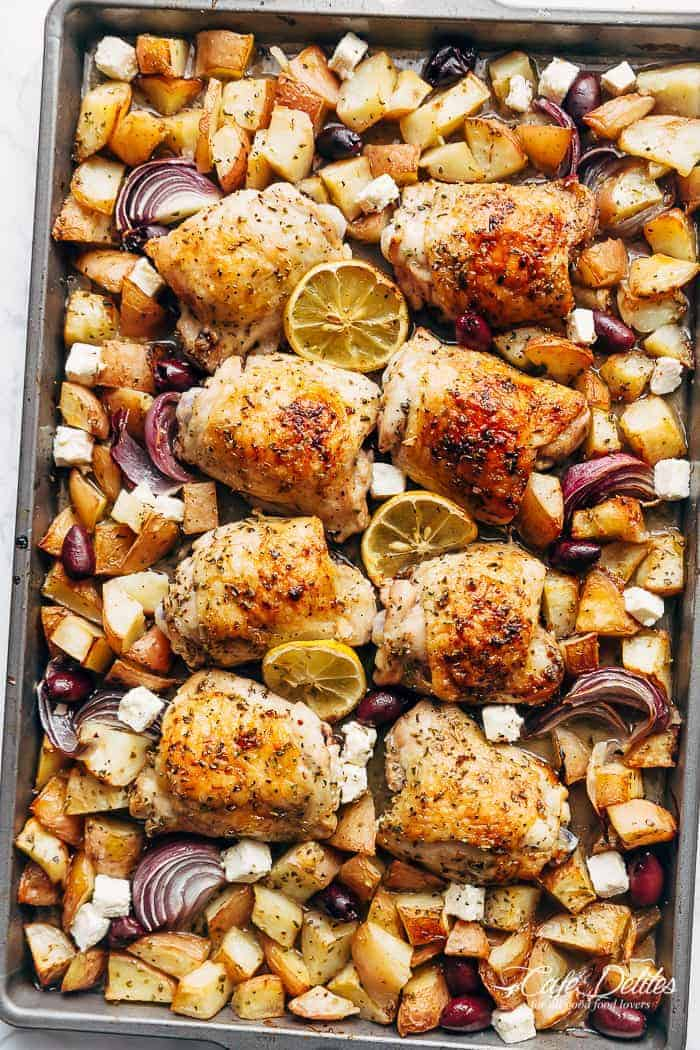 Greek Chicken + Potatoes (One Pan) | https://cafedelites.com