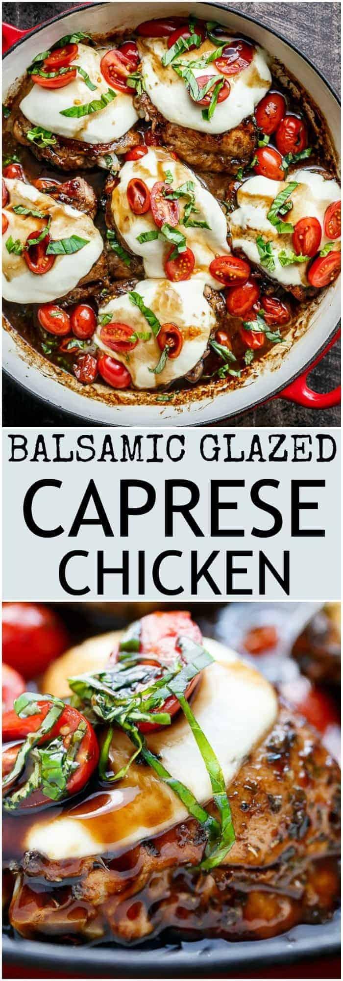 Balsamic Glazed Caprese Chicken. | https://cafedelites.com