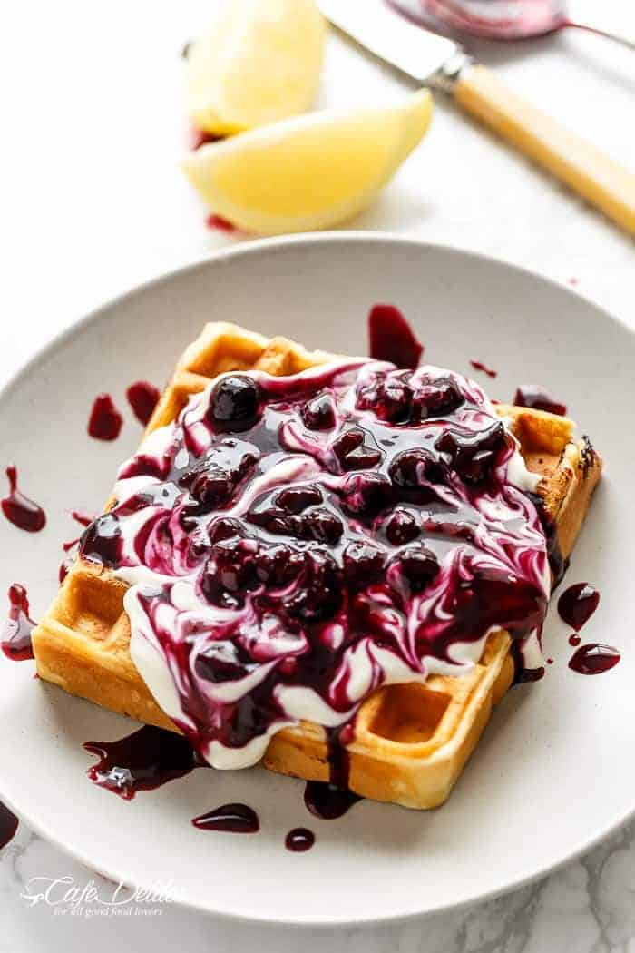 Classic Blueberry Lemon Cheesecake Waffles | https://cafedelites.com