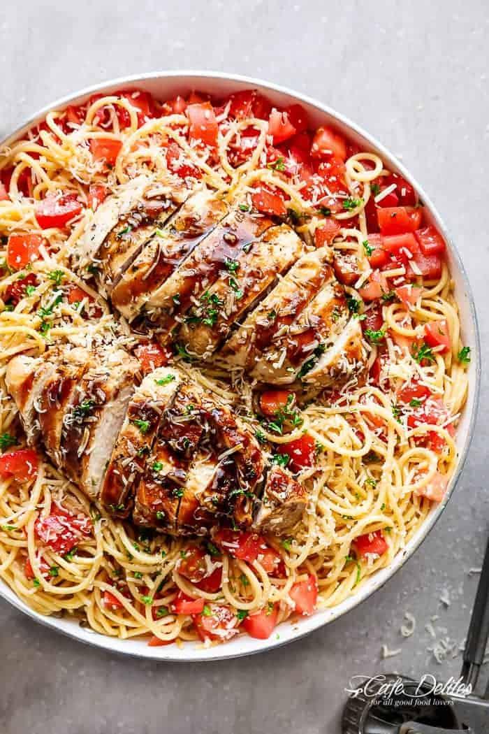 Bruschetta Chicken Pasta - Recipe Snobs   Bruschetta And Spaghetti