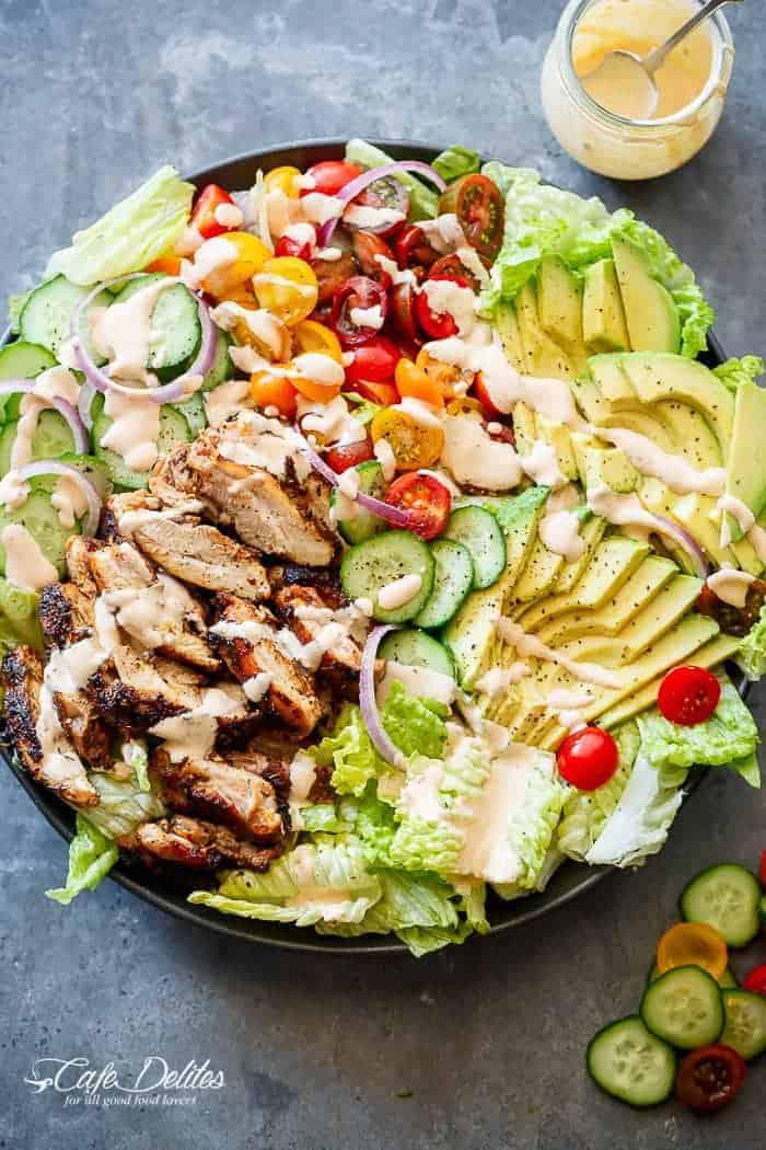 Grilled Cajun Chicken Salad with Creamy Cajun Dressing - Cafe Delites