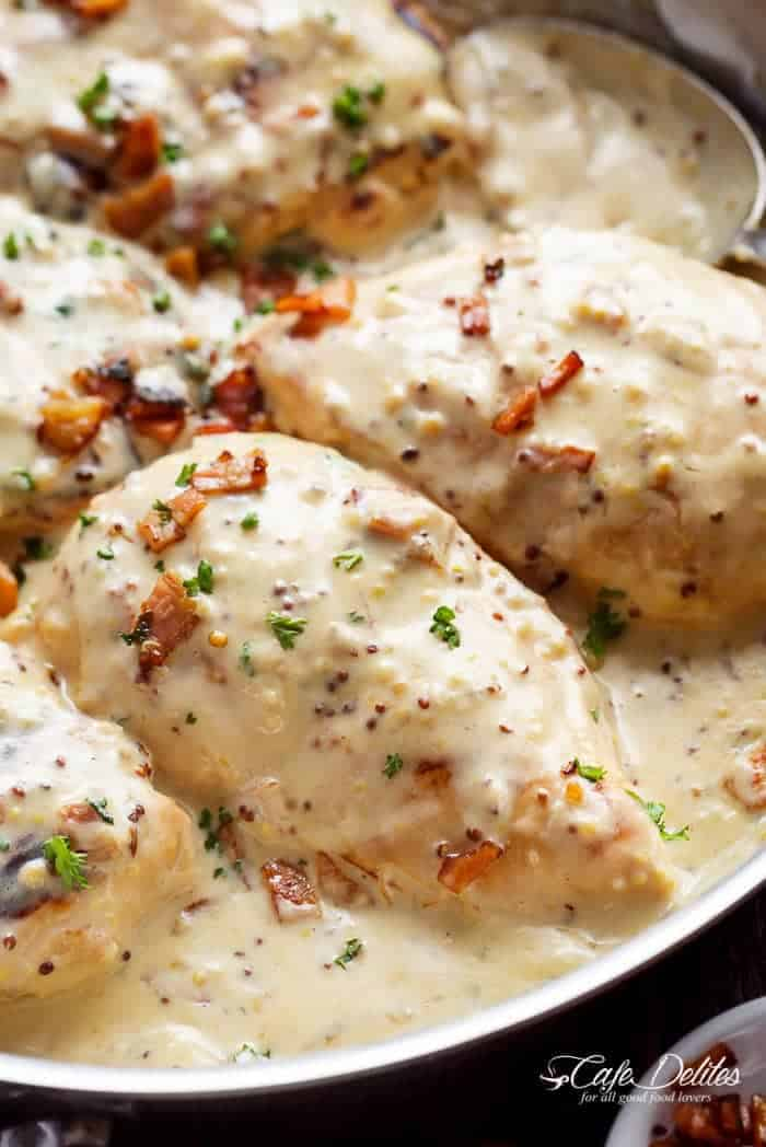 Creamy Honey Mustard Chicken With Bacon | https://cafedelites.com
