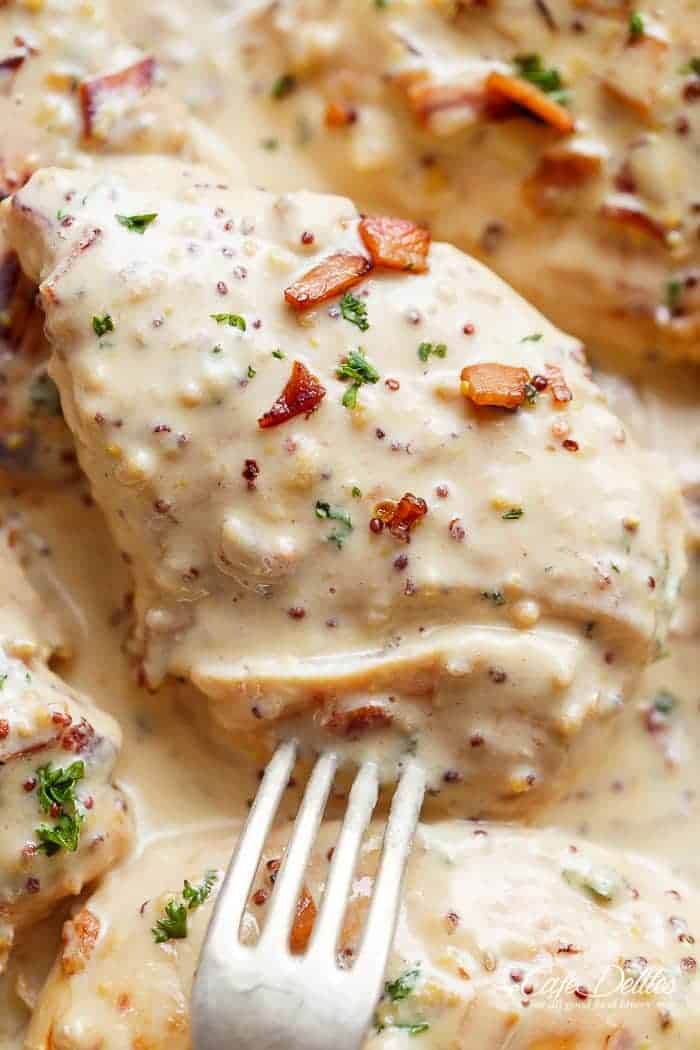 Creamy Honey Mustard Chicken With Crispy Bacon Cafe Delites
