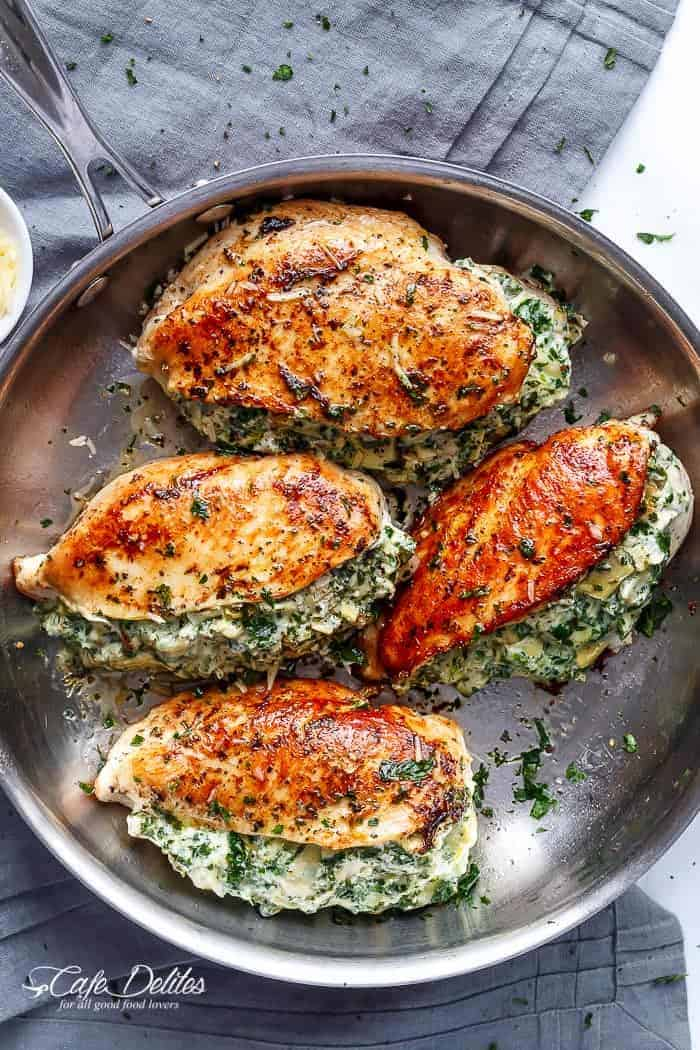 Spinach Artichoke Stuffed Chicken Breast | https://cafedelites.com