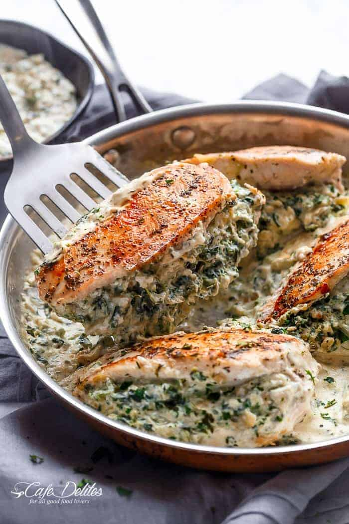 Spinach Artichoke Stuffed Chicken | https://cafedelites.com