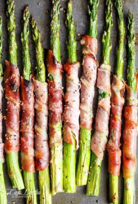 Garlic Butter Prosciutto Wrapped Asparagus are simple and quick to make. The ultimate finger food, side dish or appetiser! | https://cafedelites.com