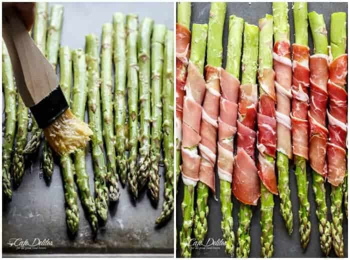 Garlic Butter Prosciutto Wrapped Asparagus | https://cafedelites.com