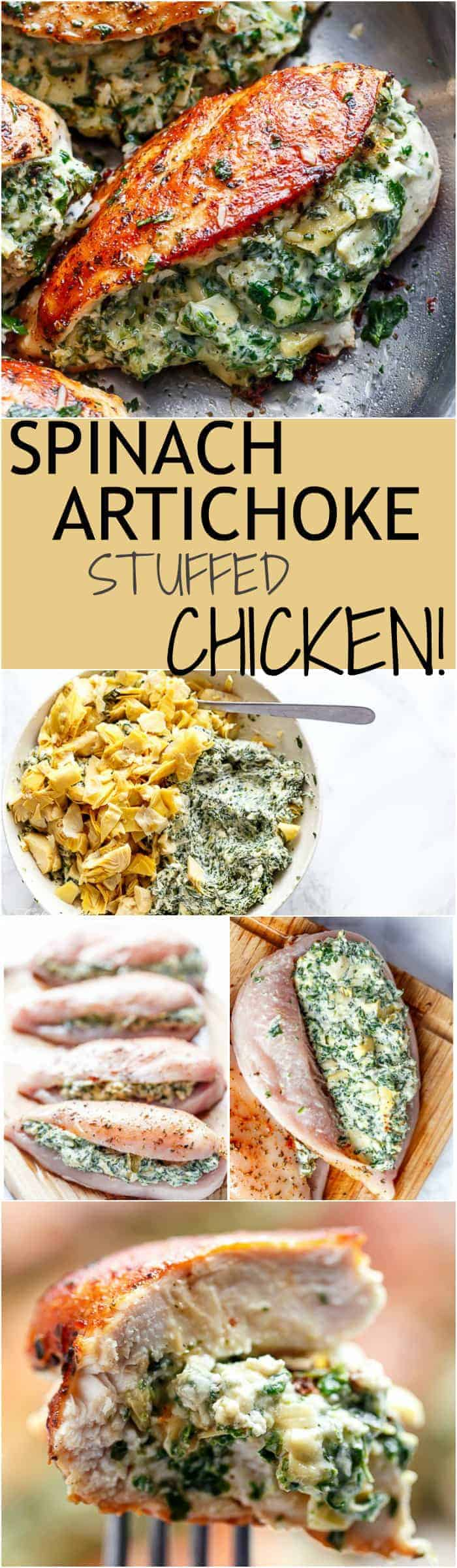 Spinach Artichoke Stuffed Chicken is a delicious way to turn a creamy dip into an incredible dinner! Serve it with a creamy sauce for added flavour! | https://cafedelites.com