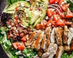 BLT Balsamic Chicken Avocado Feta Salad is a delicious twist to a BLT in a bowl, with a balsamic dressing that doubles as a marinade! You won't even miss the bread in this mega loaded salad. | https://cafedelites.com