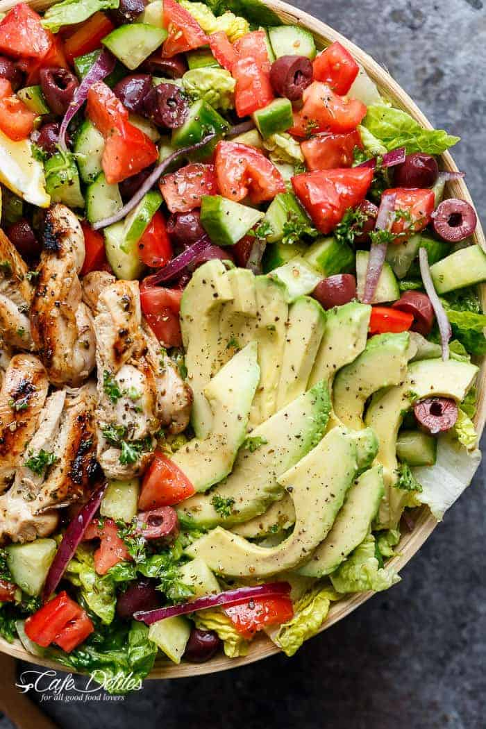 Grilled Lemon Herb Mediterranean Chicken Salad Cafe Delites