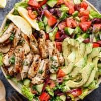 Grilled Lemon Herb Mediterranean Chicken Salad | http://cafedelites.com