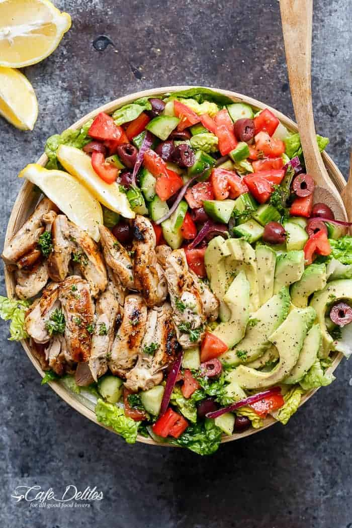Grilled Lemon Herb Mediterranean Chicken Salad - Cafe Delites