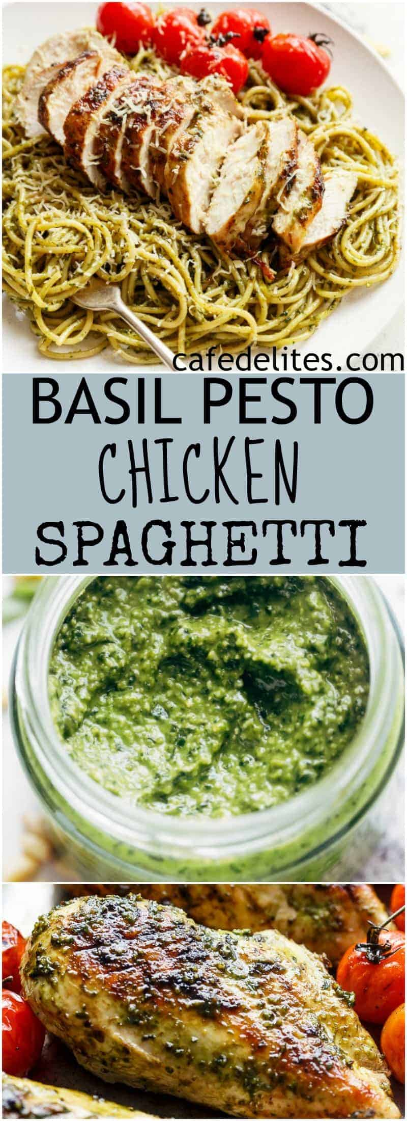 Basil Pesto Chicken Spaghetti is packed with flavour and comes together so quickly. It's sure to become a week-night favourite! | https://cafedelites.com