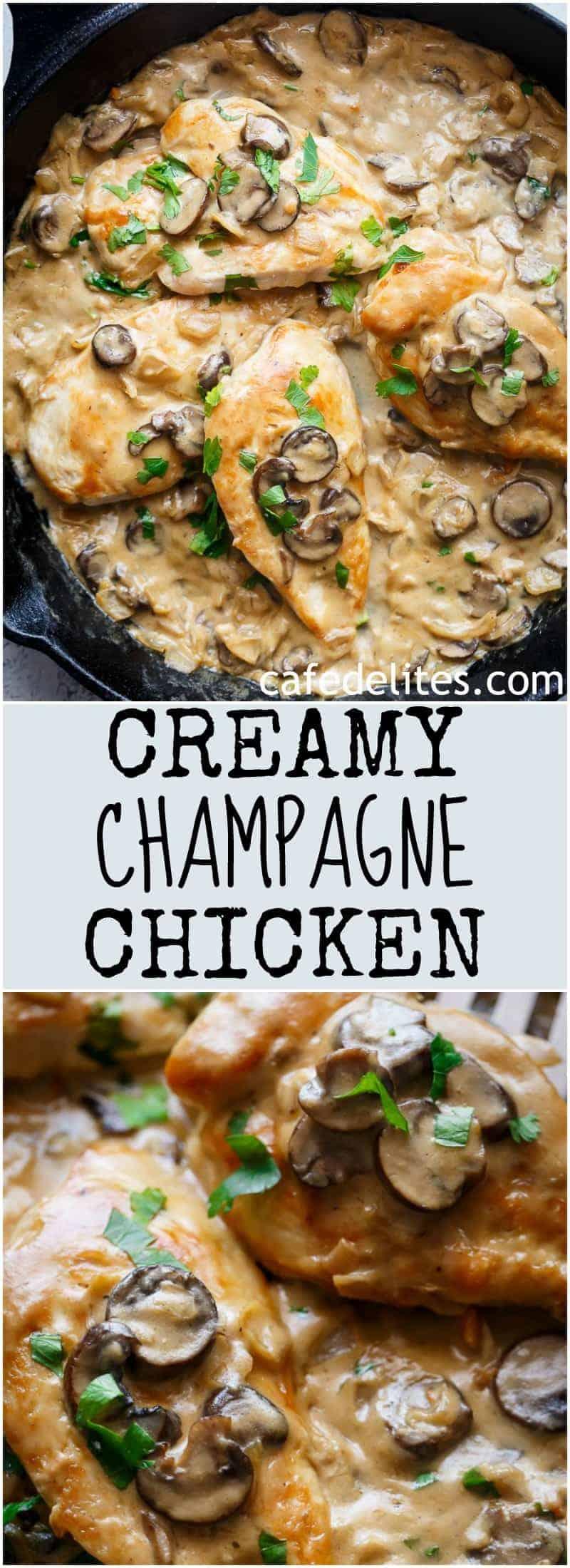 Creamy Champagne Chicken | https://cafedelites.com