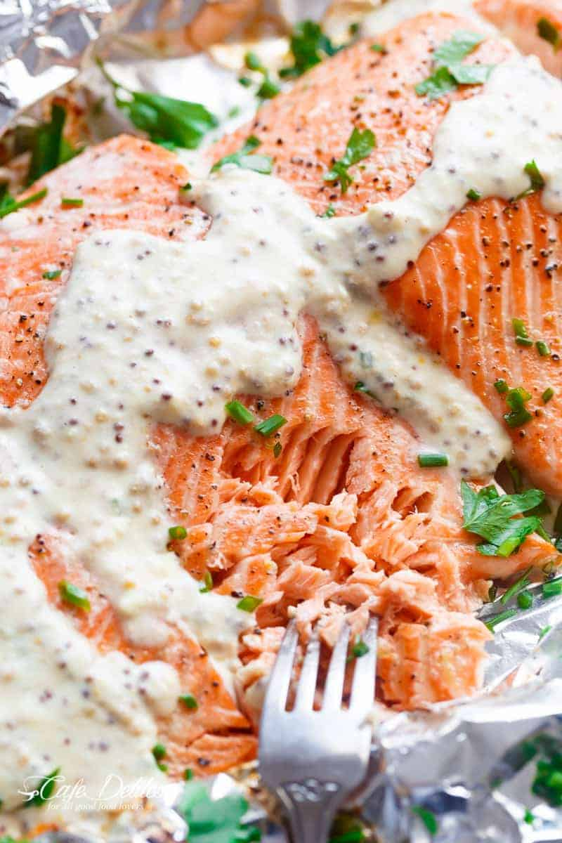 Garlic Salmon In Foil With Honey Mustard Cream Sauce | https://cafedelites.com