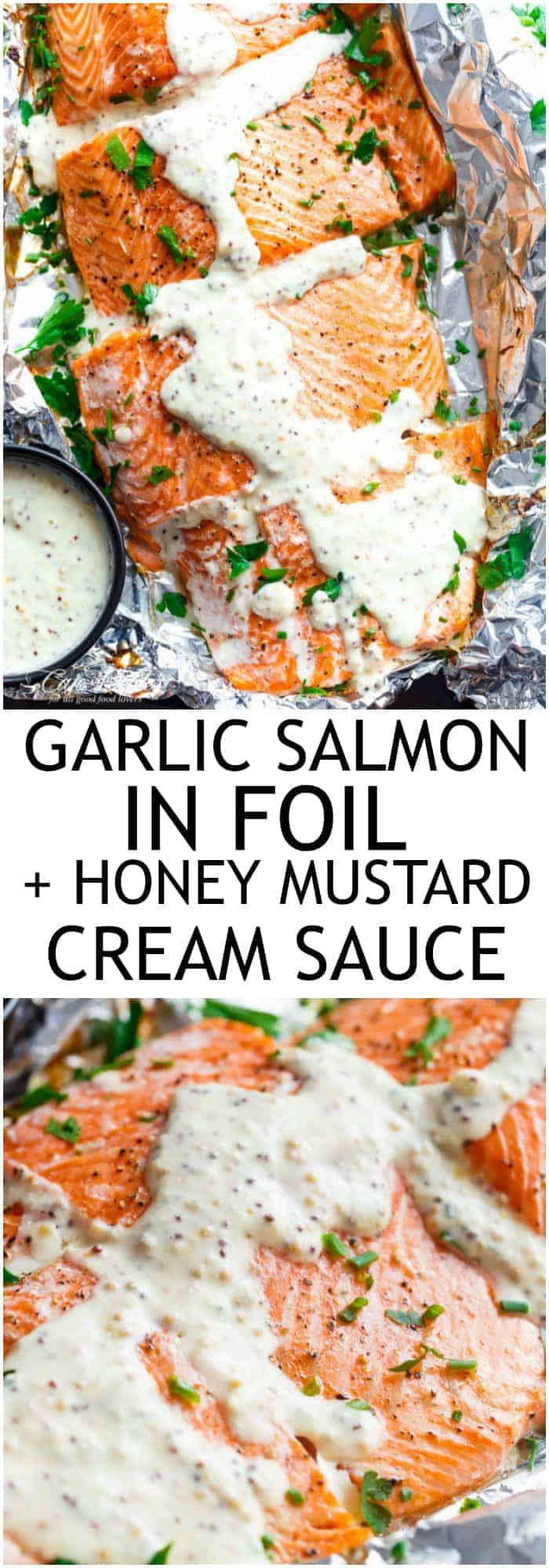 Foil Baked Garlic Salmon With A Thick And Creamy Honey Mustard Cream Cheese Sauce! The salmon is so easy and quick to make in the oven, with minimal clean up thanks to the foil! | https://cafedelites.com