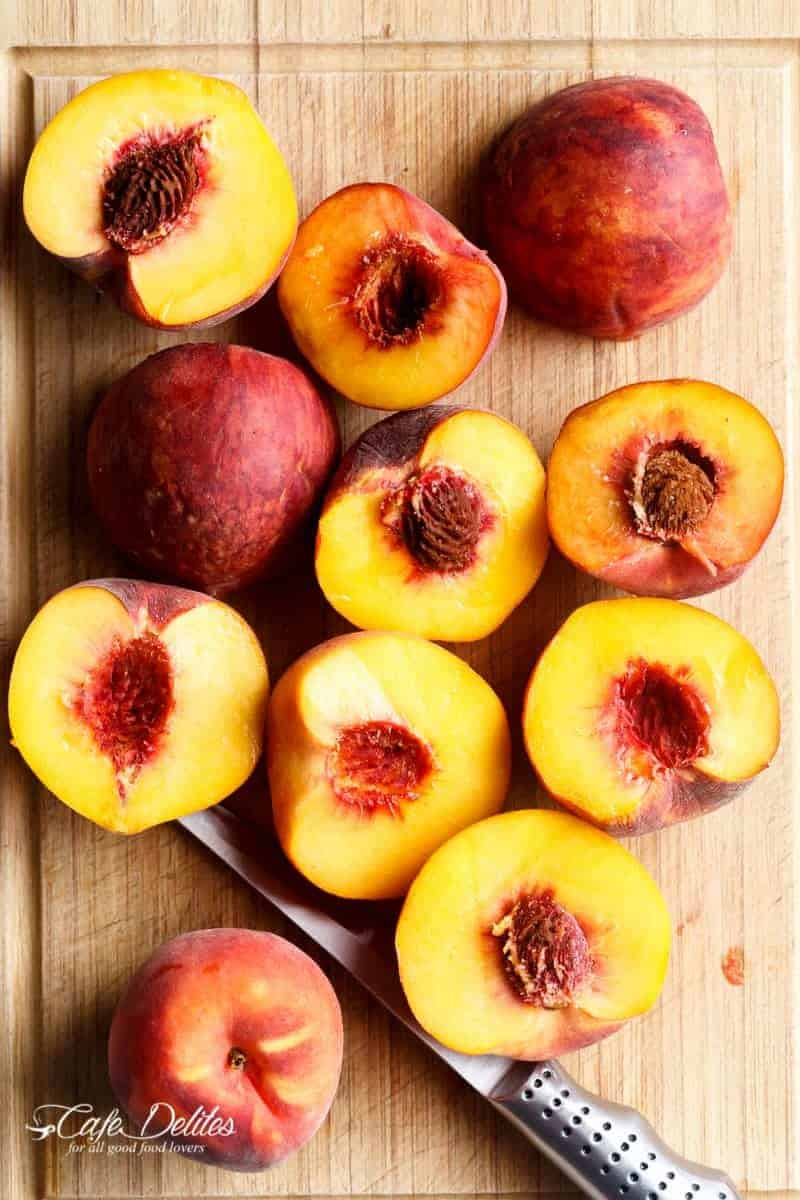 Maple Grilled Peaches With An Almond Cookie Crumb | https://cafedelites.com