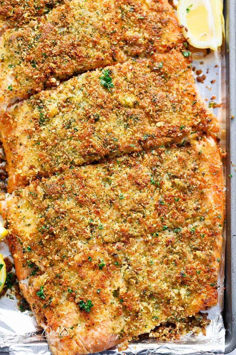 Crispy Garlic Parmesan Salmon Recipe Video Cafe Delites